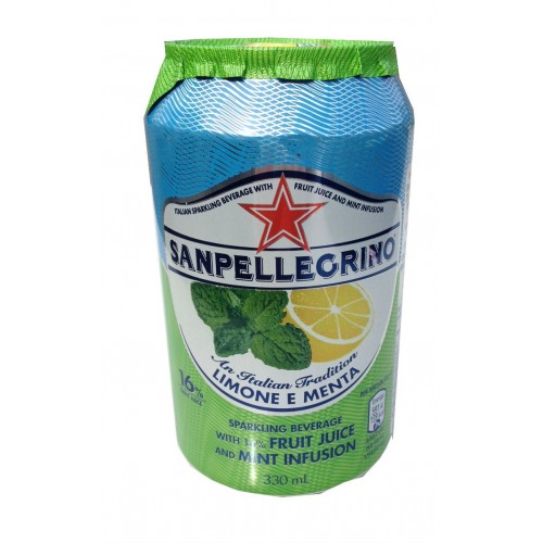 San Pellegrino Lemon & Mint Soda Can (24 x 330ml)